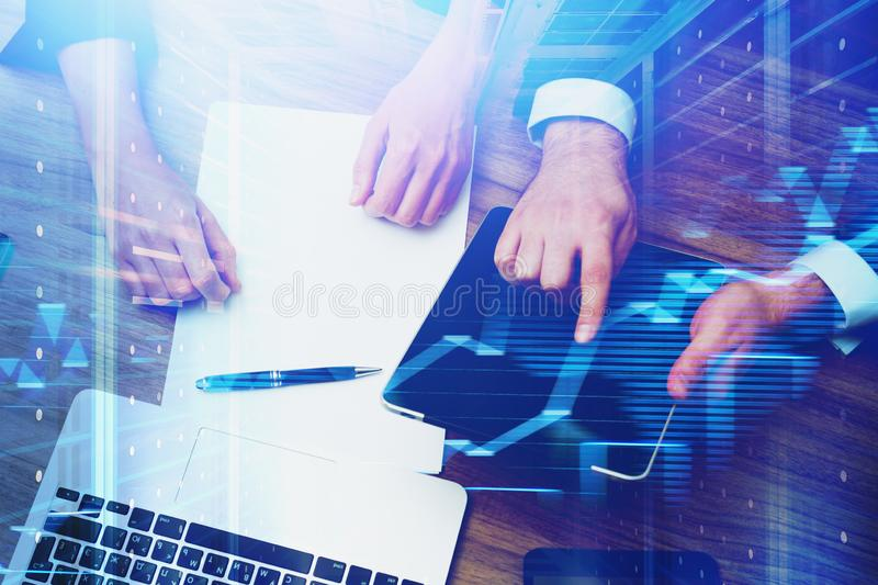 Business people and hi tech royalty free stock photography