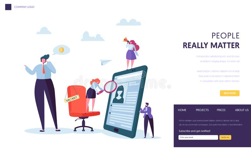 Business People Hiring New Staff Banner Design. Office Chair with Vacancy Sign. Recruit Career Talent Concept Website. Business People Hiring New Staff Banner royalty free illustration