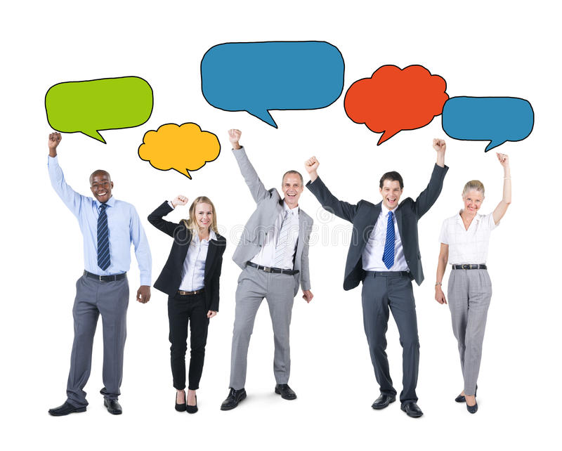 Business People Holding Colorful Speech Bubbles stock photography