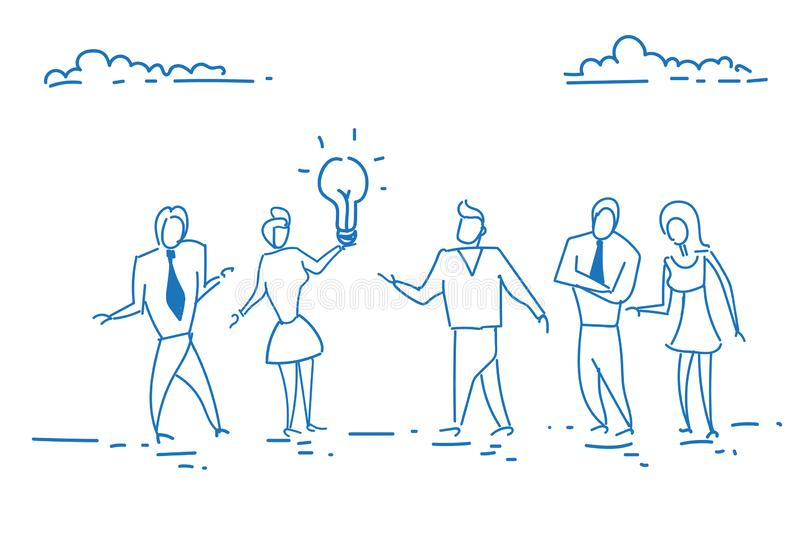 Business people holding light lamp creative innovation startup concept team brainstorming generating new idea. Inspiration project sketch doodle hand drawn vector illustration
