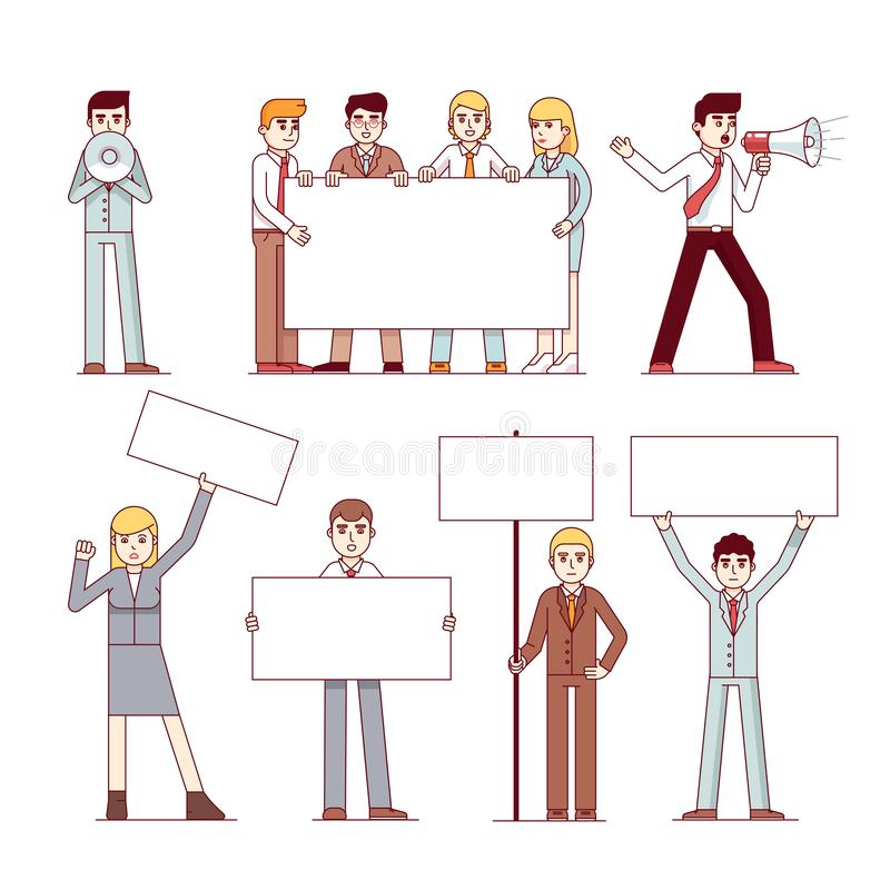 Business people holding banners with copy space stock illustration