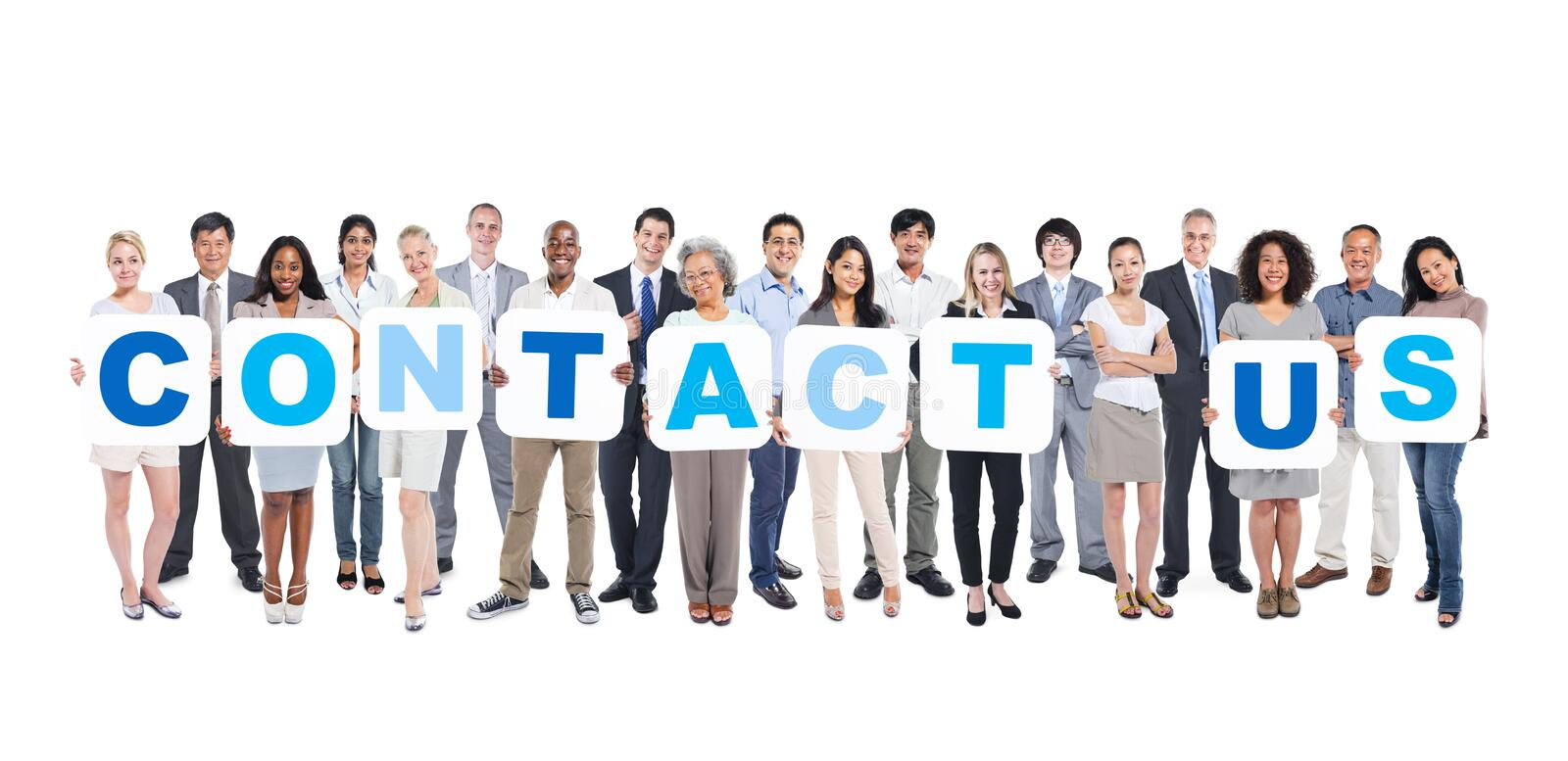 Business People Holding Placards Forming Contact Us. Group Of Multiethnic Group Of Business People Holding Placards Forming Contact Us royalty free stock images