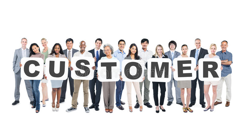 Business People Holding Placards Forming Customer. Group Of Multiethnic Group Of Business People Holding Placards Forming Customer royalty free stock photos