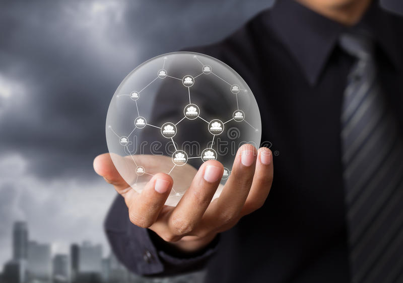 Technology Management Image: Business People Holding Social Network In Crystal Ball