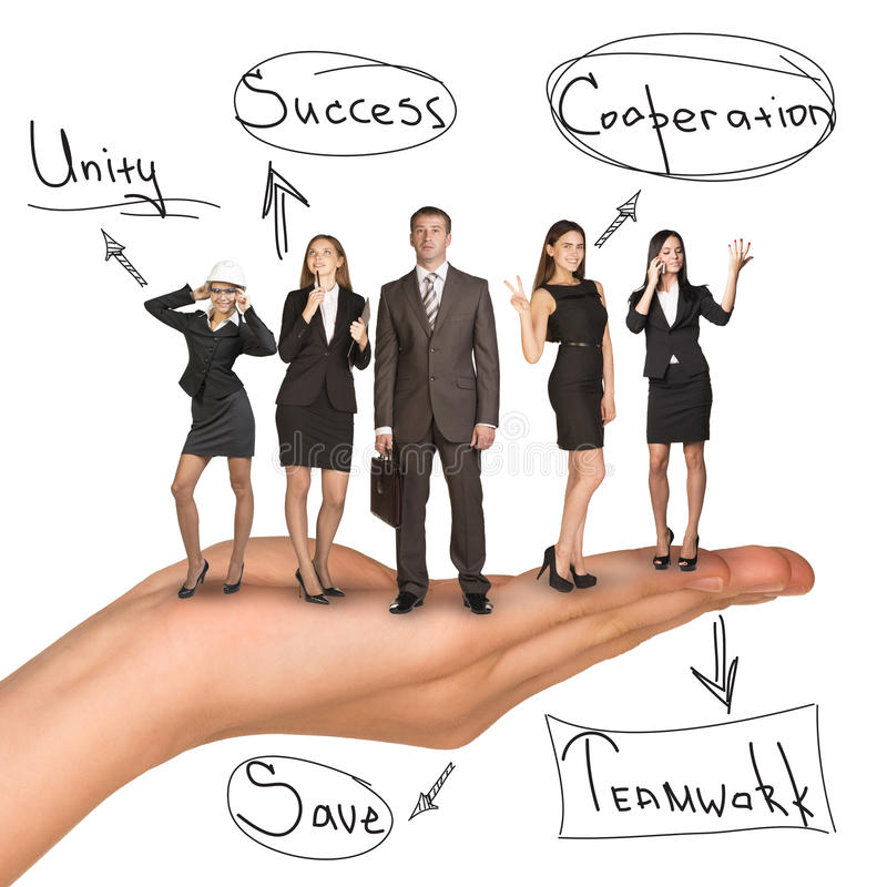 Business people in humans hand with unity idea royalty free stock photos