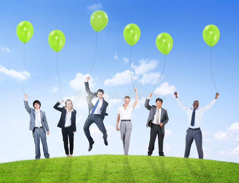 Business People Humor Balloon Support Success Confidence Teamwork.  royalty free stock photography