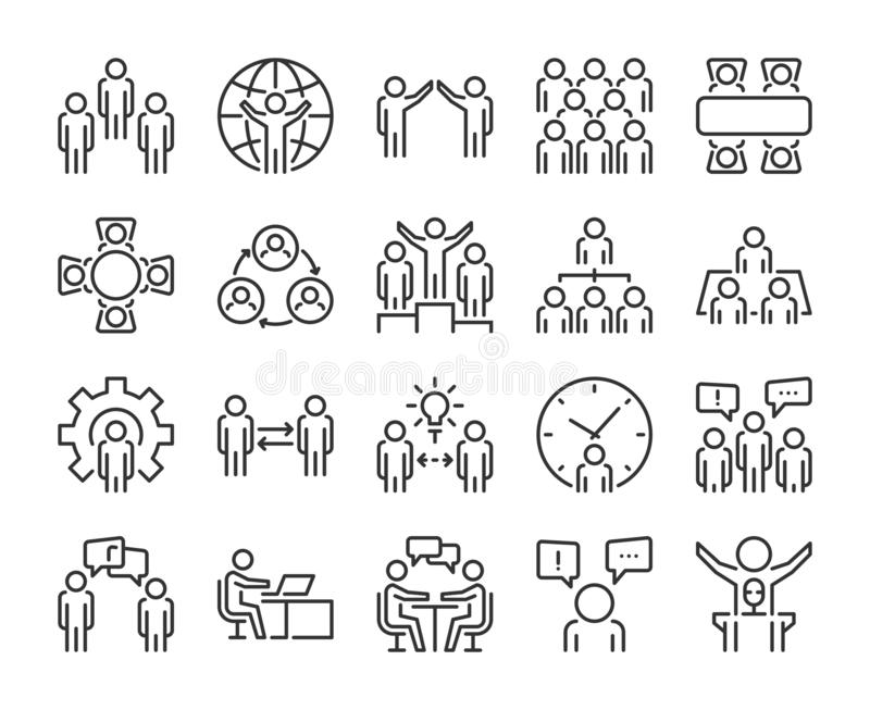 Business people icon. Business people line icon set. Editable stroke, 64x64 Pixel perfect. stock illustration