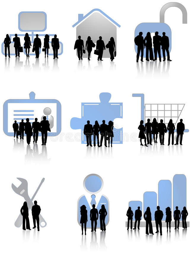 Business people and icons stock illustration