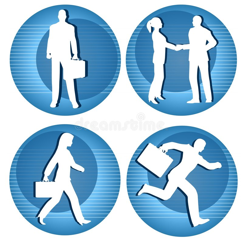 Business People Icons. An illustration featuring a selection of round blue striped business person icons involving common scenes royalty free illustration