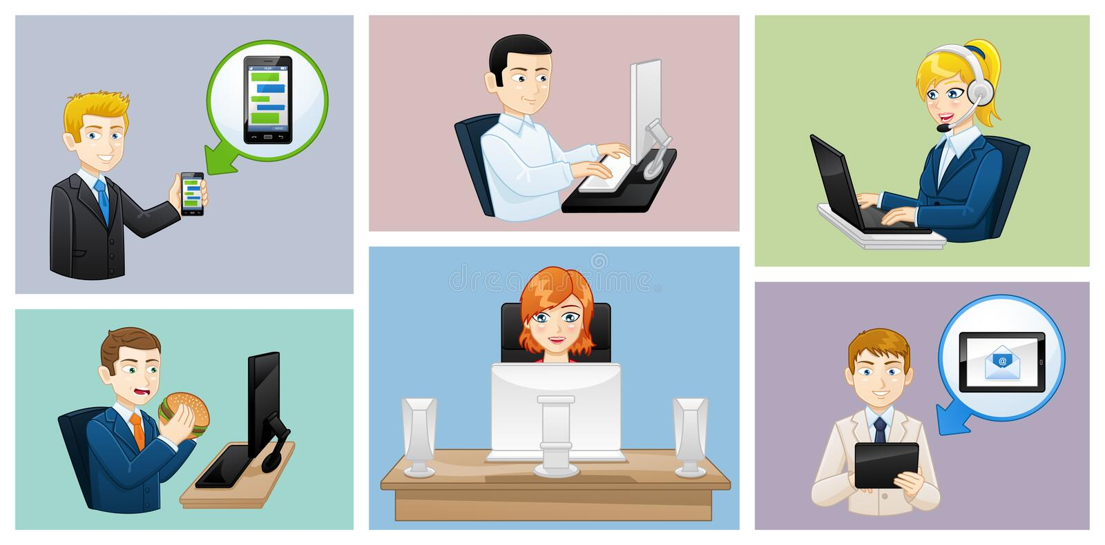 Business people icons avatars - work situations - Illustration. Avatars of Business people at work royalty free illustration