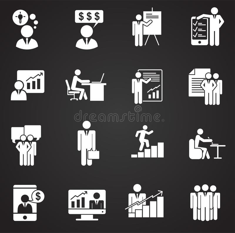 Business people icons set on background for graphic and web design. Simple illustration. Internet concept symbol for. Website button or mobile app stock illustration