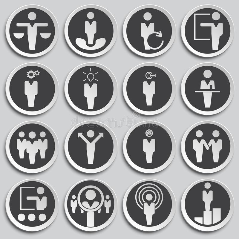 Business people icons set on background for graphic and web design. Simple illustration. Internet concept symbol for. Website button or mobile app royalty free illustration