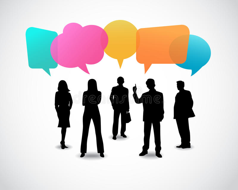Business people icons with talking speech bubbles stock illustration