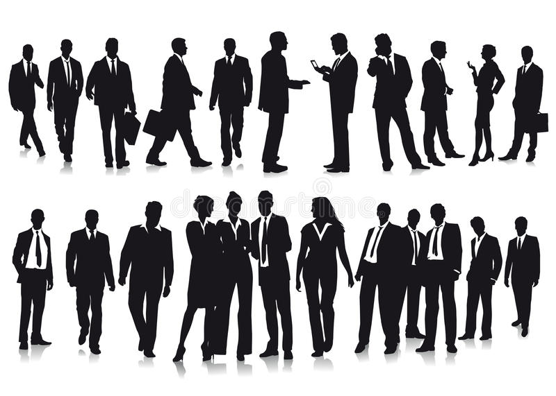 Business people. Illustrations of silhouettes of business people on white background stock illustration