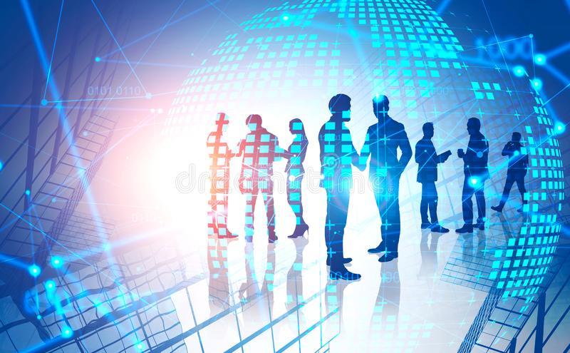 Business people and internet network. Business people silhouettes over abstract city background with double exposure of planet hologram and network interface stock photography