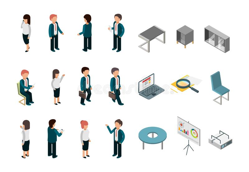 Business people isometric. Office corporate supplies furniture managers directors vector collection stock illustration