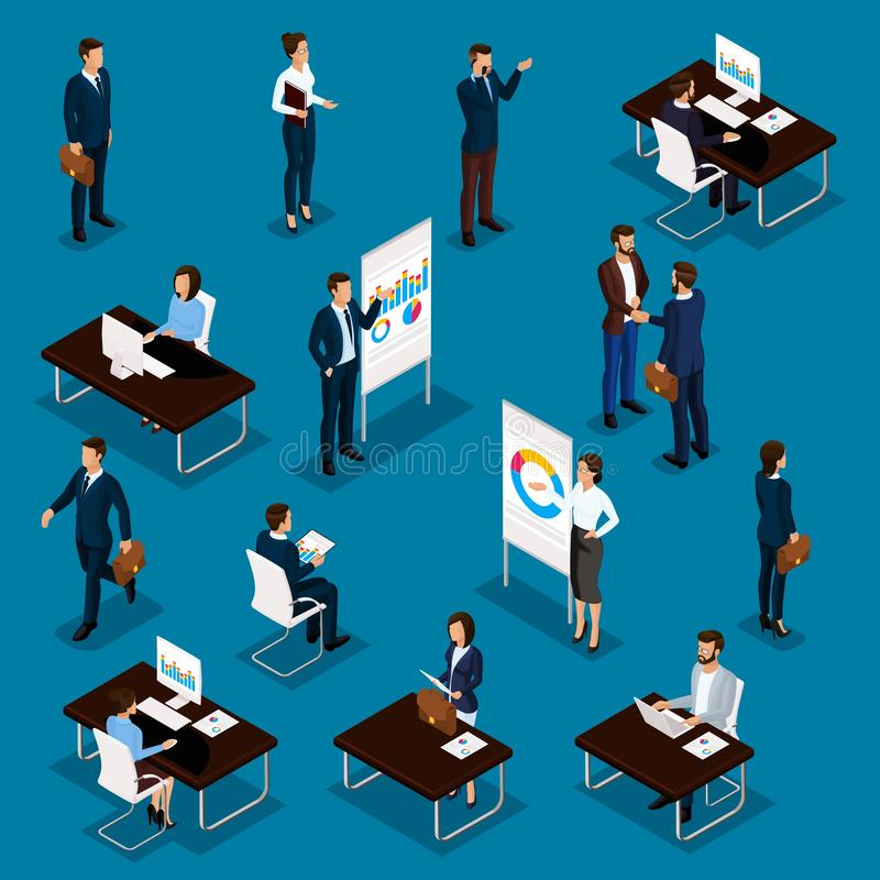 Free Business People Isometric Set Of Men And Women In The Office Business Suits Isolated On A Blue Background. Vector Illustration Stock Photography - 139307342