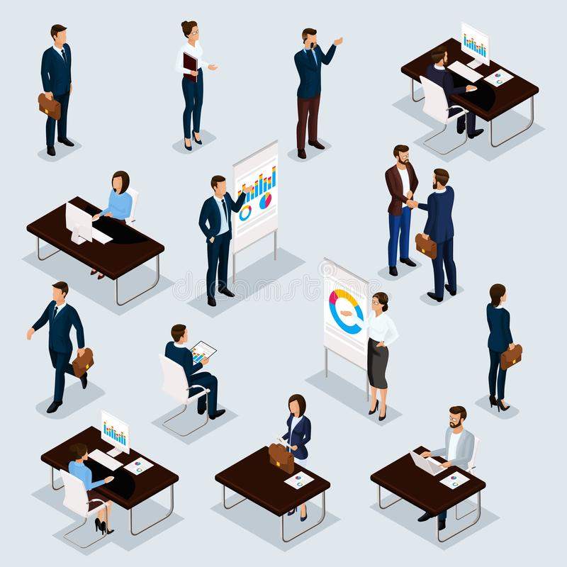 Free Business People Isometric Set Of Men And Women In The Office Business Suits Isolated On A Gray Background. Vector Illustration Stock Images - 139307344
