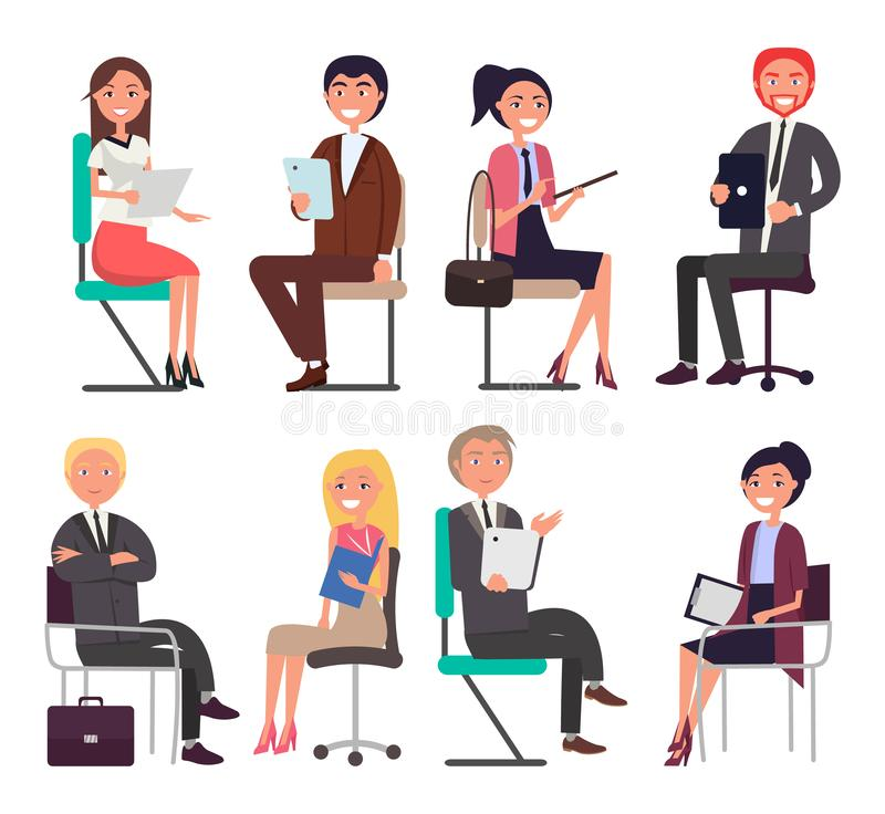Business People at Job Interview Speak on Chairs. In front of each other. Men and women in office suits during business meeting vector illustrations vector illustration