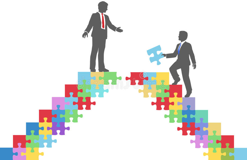 Business people join connect puzzle bridge. Two people find connection to team up on puzzle in a merger make a deal or collaborate stock illustration