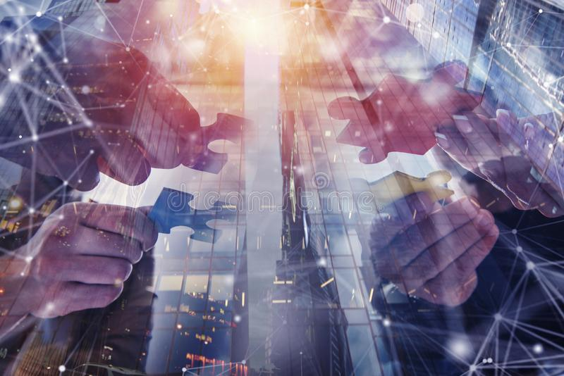 Business people join puzzle pieces. Concept of teamwork and partnership. double exposure stock illustration
