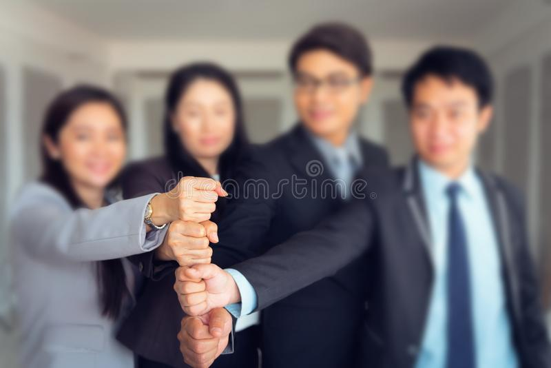 Business people are joining hands stack, Unity and business team royalty free stock photos
