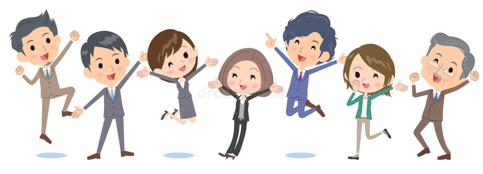 Business people_jump happy side by side vector illustration
