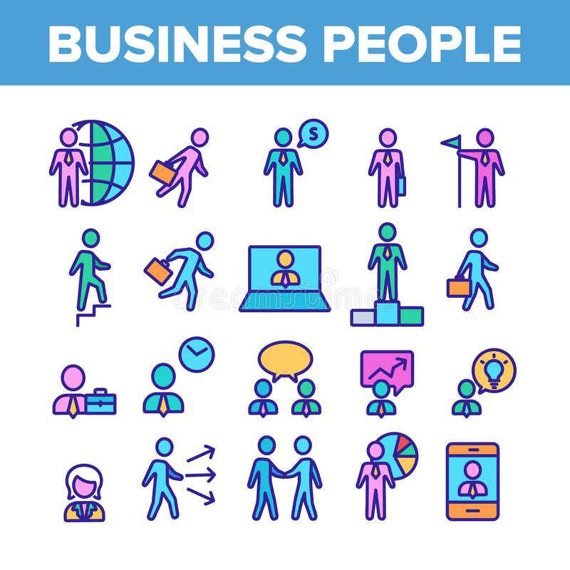 Business People Leader Collection Icons Color Set Vector royalty free illustration