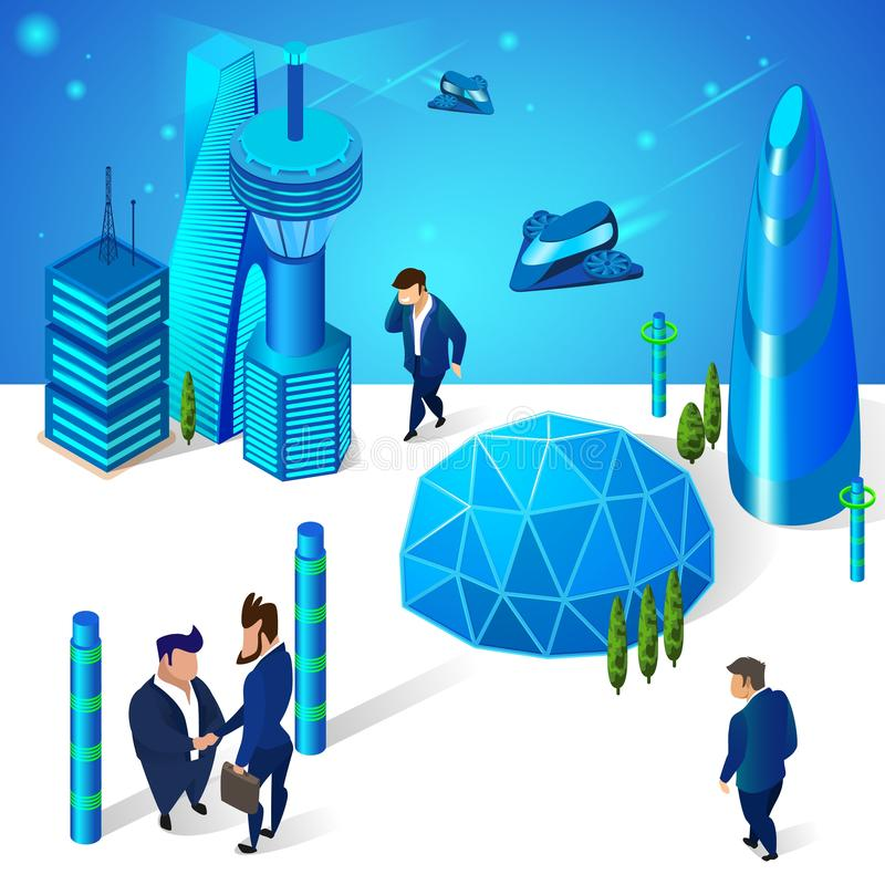 Business People in Futuristic Architecture City royalty free illustration