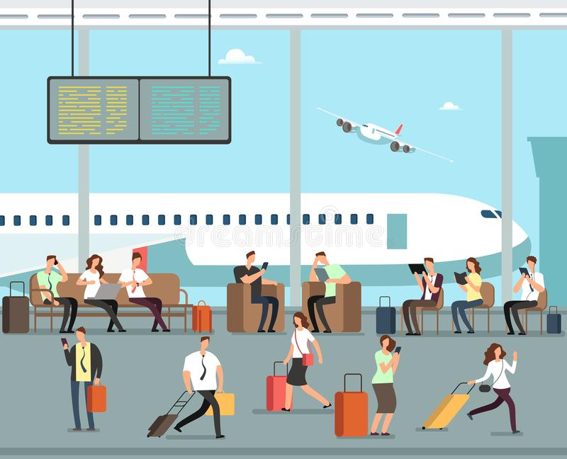 Business people with luggage at airport vector travel concept royalty free illustration