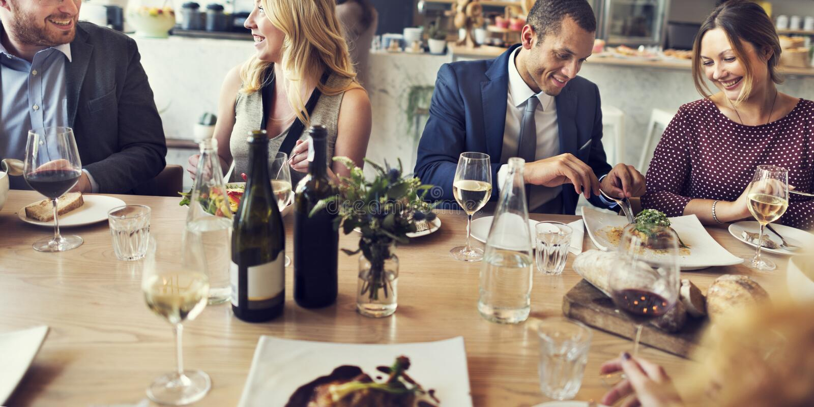 Business People Lunch Dinner Meeting Restaurant Concept stock images