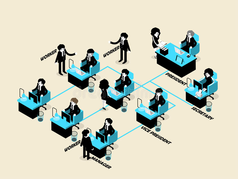 Business people male and female in organization chart concept vector illustration