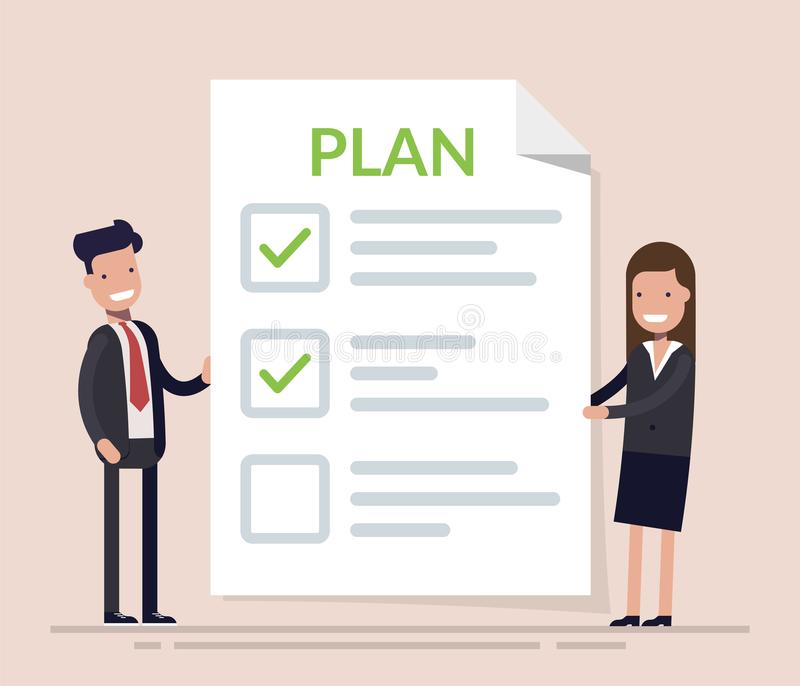 Business people, man and woman standing with big clipboard and checklist. Concept business plan in action. Happy royalty free illustration