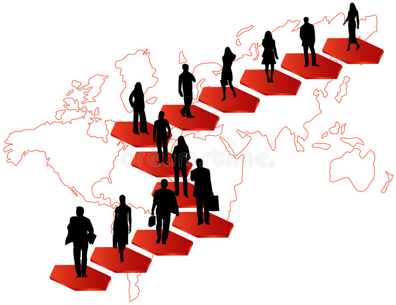 Download Business people and map stock vector. Image of beauty - 5398438