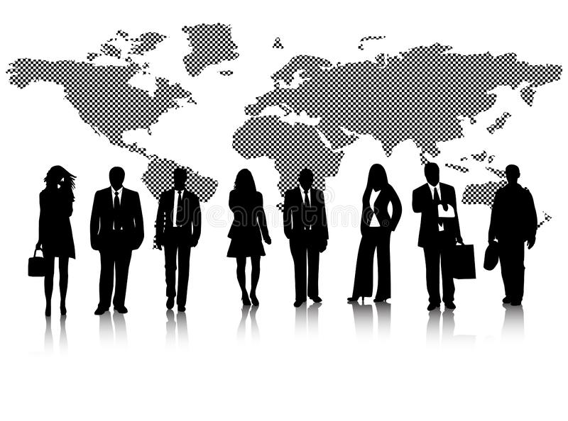 Business people and map stock photo