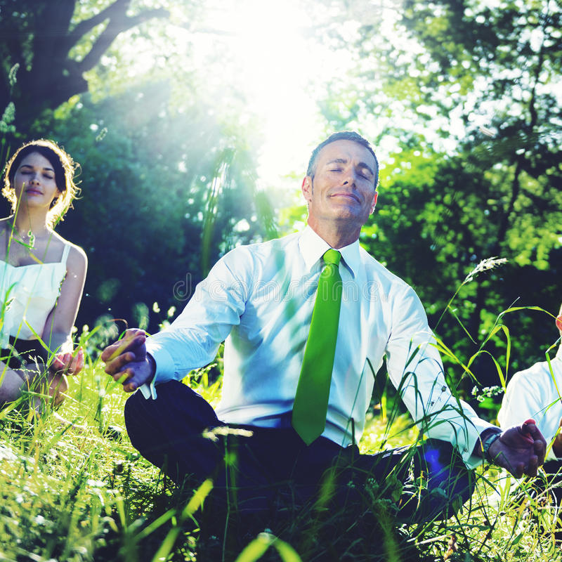 Business People Meditating Nature Relaxation Concept stock image