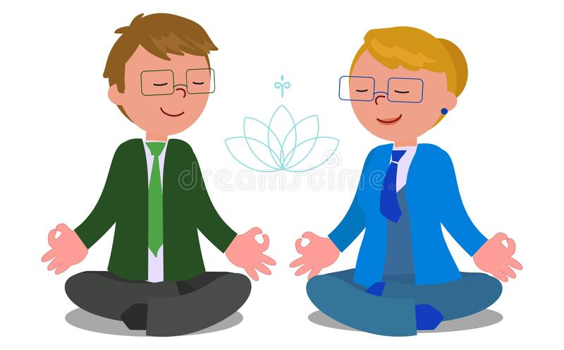 Business people in meditation pose vector stock illustration