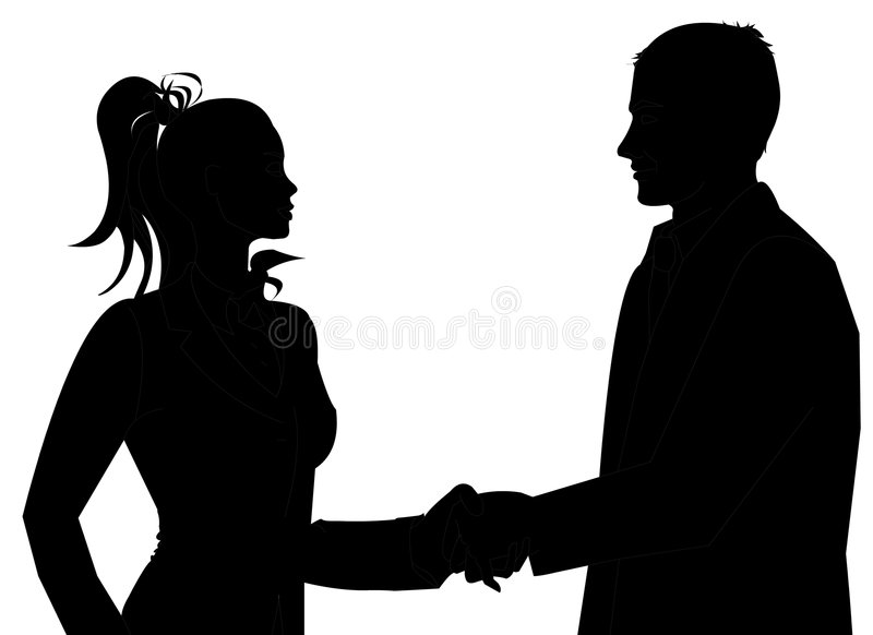 Business People Meeting. Man and Woman business silhouette shaking hands to introduce themselves stock photography