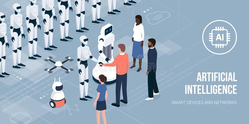 Business people meeting AI robots vector illustration