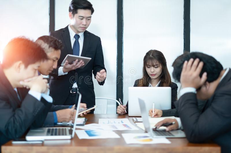 Business people meeting brainstorming and discussing project together in office, teamwork concept royalty free stock photo