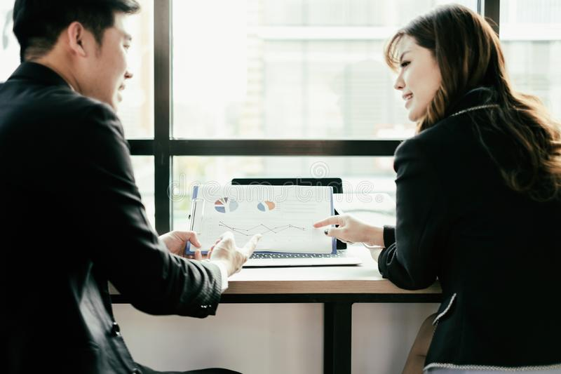 Business people meeting brainstorming and discussing project together in office, teamwork concept royalty free stock image