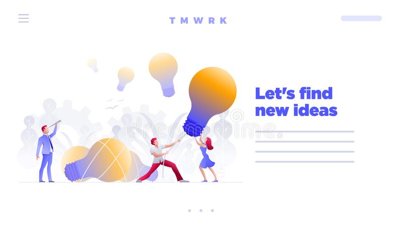 Find and hunt new ideas concept web site design template. Business people meeting and brainstorming and search, find and hunt new ideas, solutions and royalty free illustration
