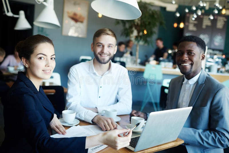 Business People at Meeting in cafe stock photos