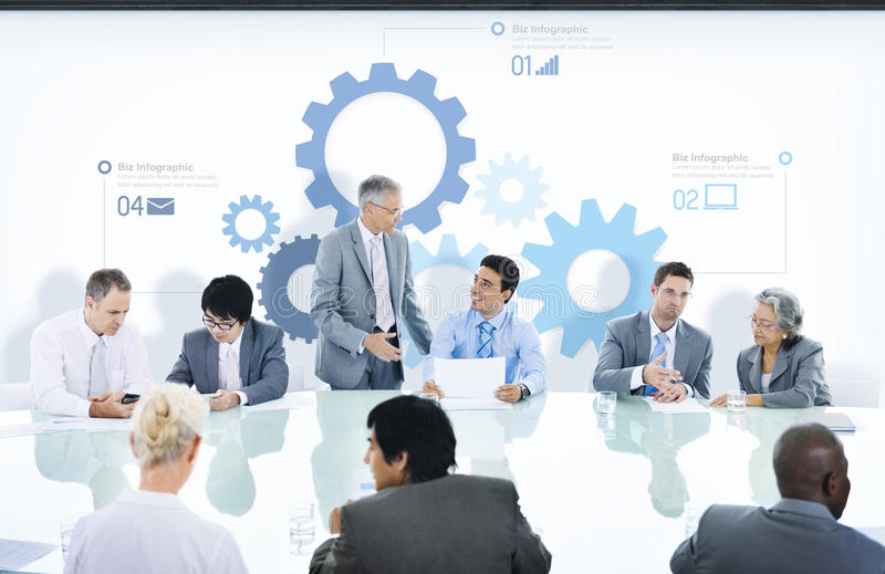 Business People in a Meeting and Gear Symbols.  stock images