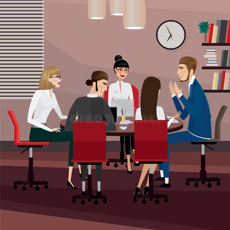 Business people meeting. Business men and women at meeting in office stock illustration