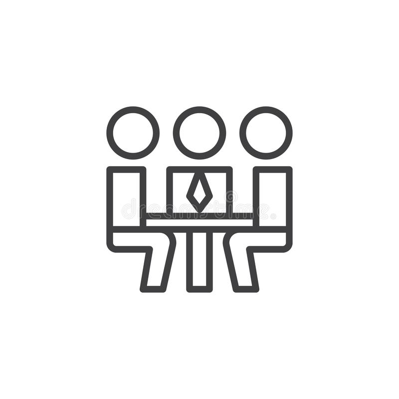 Business people meeting outline icon stock illustration