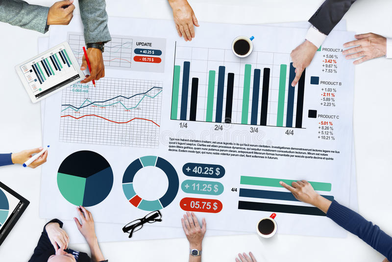 Business People Meeting Planning Analysis Statistics Brainstorming Concept stock images