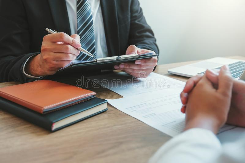 Business People meeting Planning Strategy talking about business plan, progress report for business work royalty free stock photo