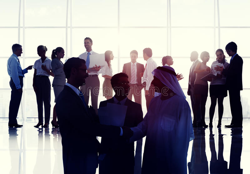 Business People Meeting Room Handshake Global Communication Concept stock images