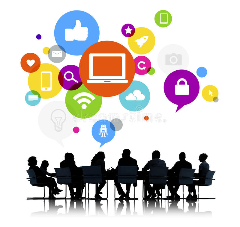 Business People in a Meeting. And Social Media Related Symbols Above royalty free stock images